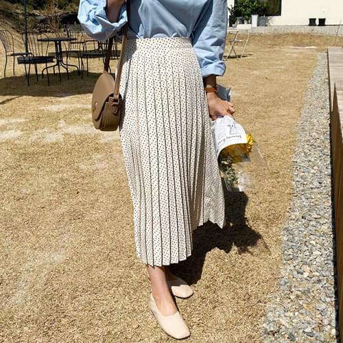 Polka Dot Pleated Long Skirt - Black