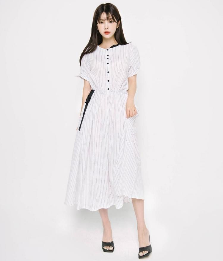 Pinstriped Cotton Dress