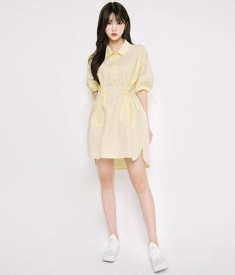 Cord-Lock Accent Shirt Dress