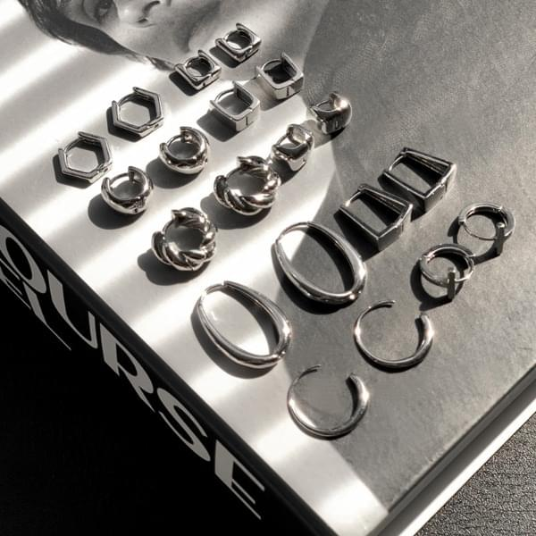 Daily Chic One Touch Point Silver Ring Earrings 10TYPE