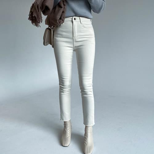 Beads High Fleece-lined Skinny Pants-Cream (Short L), Black (Short L) Same day shipping