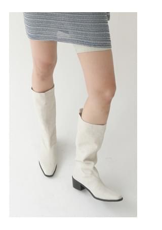 sharp linen long boots