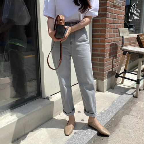 Monotone Straight Fit Gray Denim Pants *