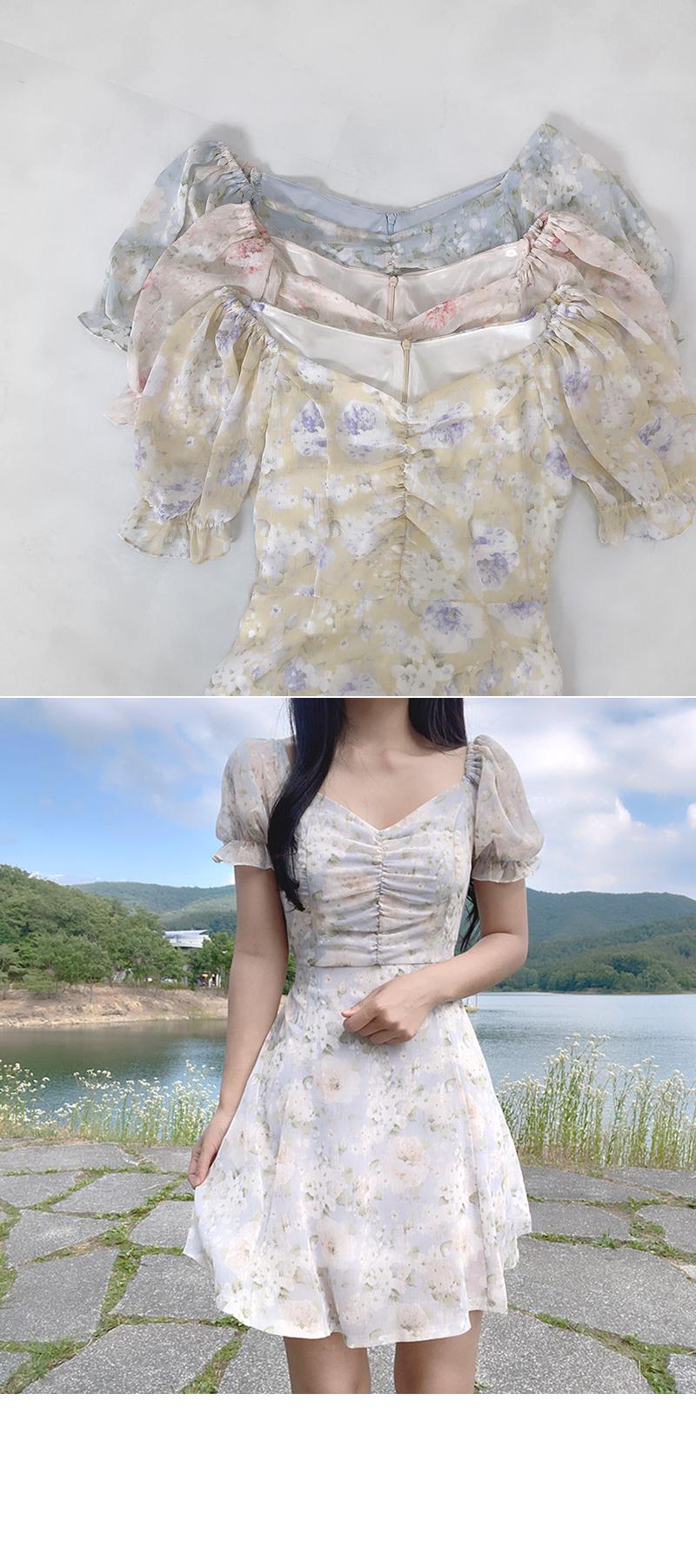 Mormon Flower Shirring Sleeve Puff Dress