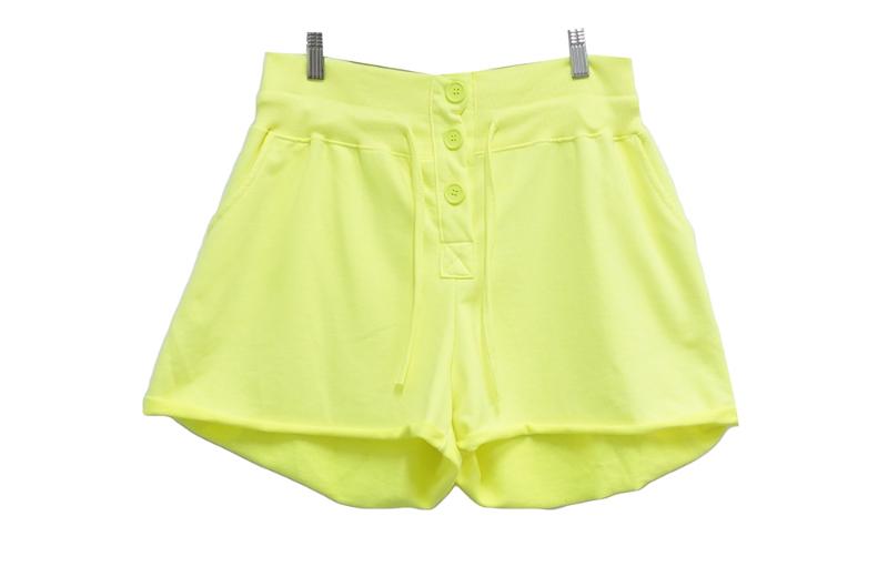high button training shorts