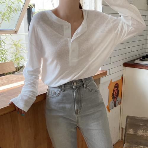 About Loose-fit Linen Henley Neck T-shirt - Beige, Blue
