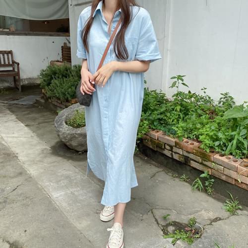 Terrace Linen Shirt Long Dress -Light Beige Same Day Shipping