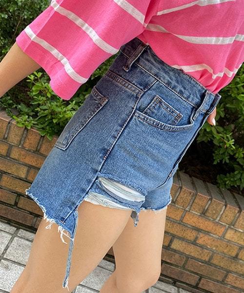 Hem ripped tatter Vintage short pants