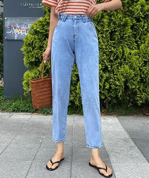 Waist flower side band loose fit straight jeans