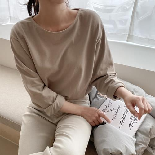 Mild Fleece-lined basic T-shirt-Beige, Gray Same day delivery
