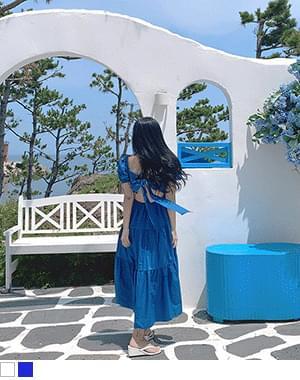 Yaki Back Split Vacation Ribbon Long Dress