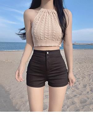 Rune Halter Neck Twisted Vacation Knitwear Sleeveless + This Basic Short Pants