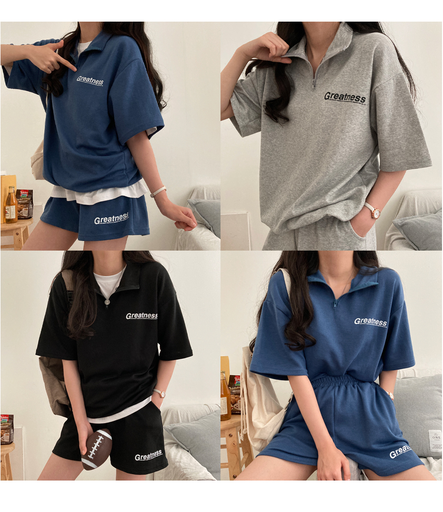 Great Short Sleeve Anorak Two Piece Set