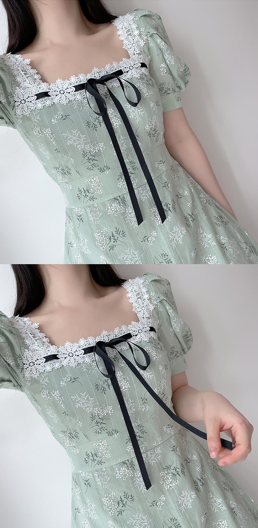 Florence Lace Square Dress 2color
