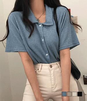 Blaping Collar Ribbed Button Knitwear T-Shirt