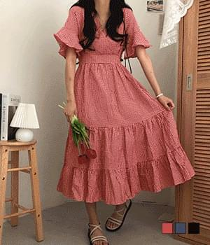 Pruden Gobang Check Can Can Long Dress