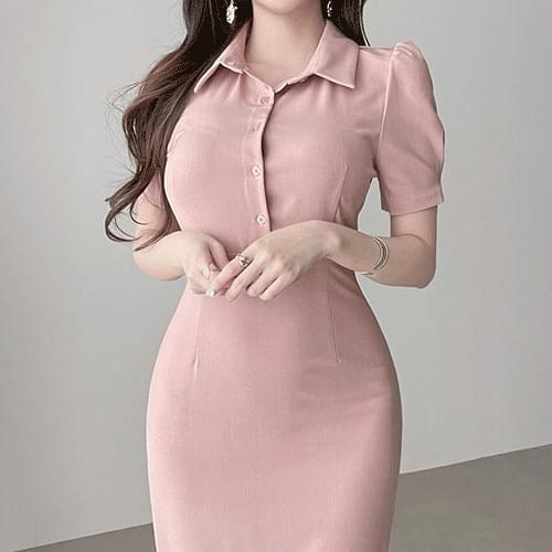 Straight romantic puff collar Dress 2color