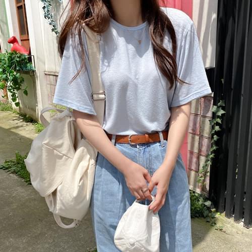 Fog Soft Linen Short Sleeve T-shirt - Camel Brown, Beige