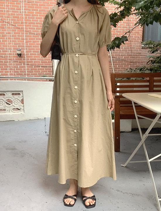 come here shirring long Dress