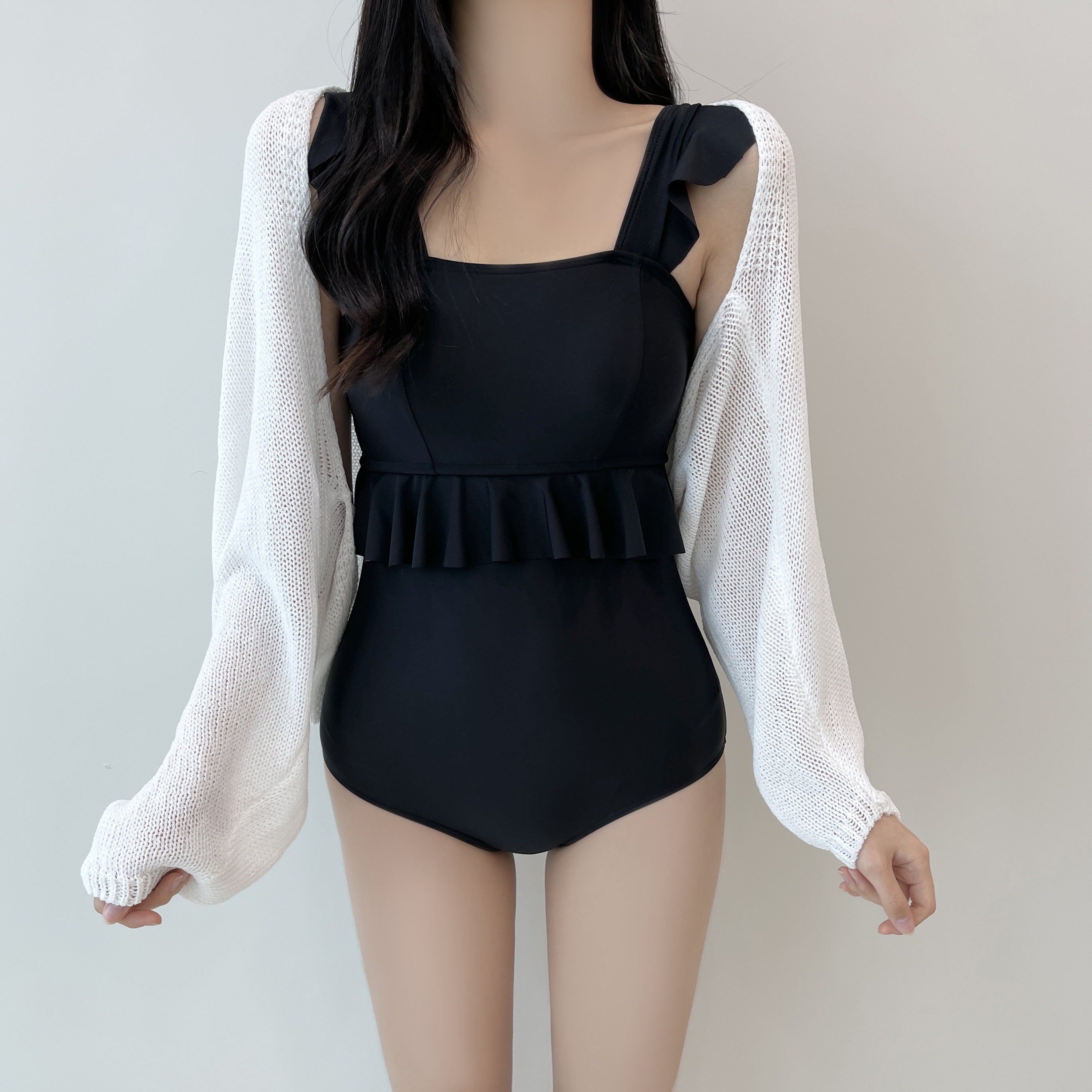 Lilac, lovely frill monokini swimsuit