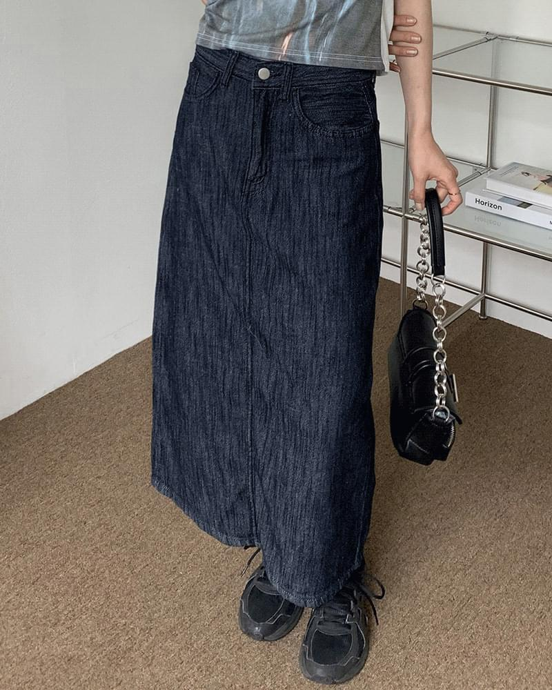 Bro Linen Summer Raw Denim Long Skirt