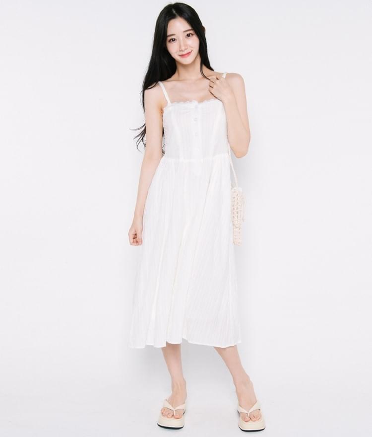 Lace Trim Neck Sleeveless Dress