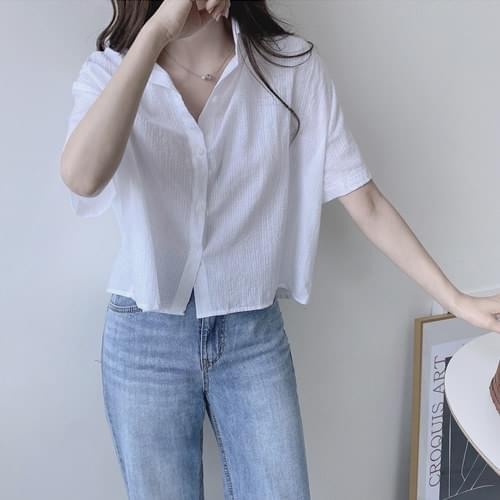 Plum semi-cropped cotton shirt