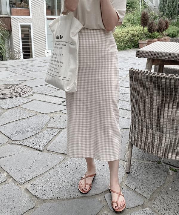 Sheer Linen Check Long Skirt