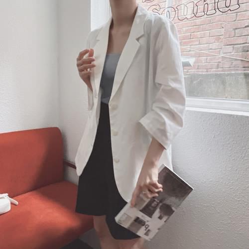 Clip Part 7 Linen Single Jacket - Ivory