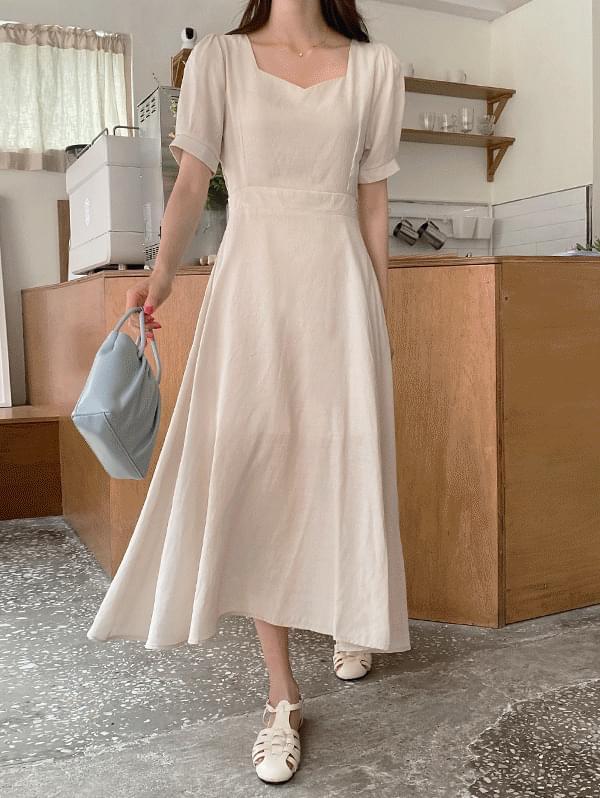 Subtle Heart Neck Waist Strap Linen Long Dress