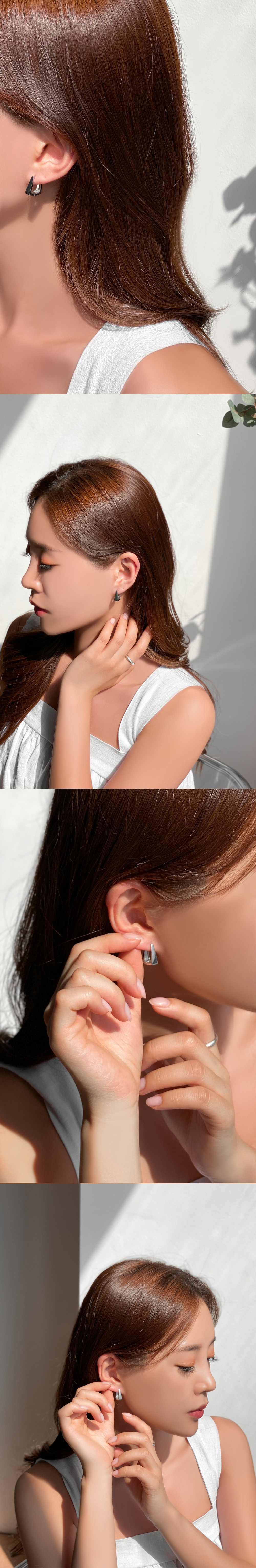 Bold Square One-Touch Silver Ring Earrings