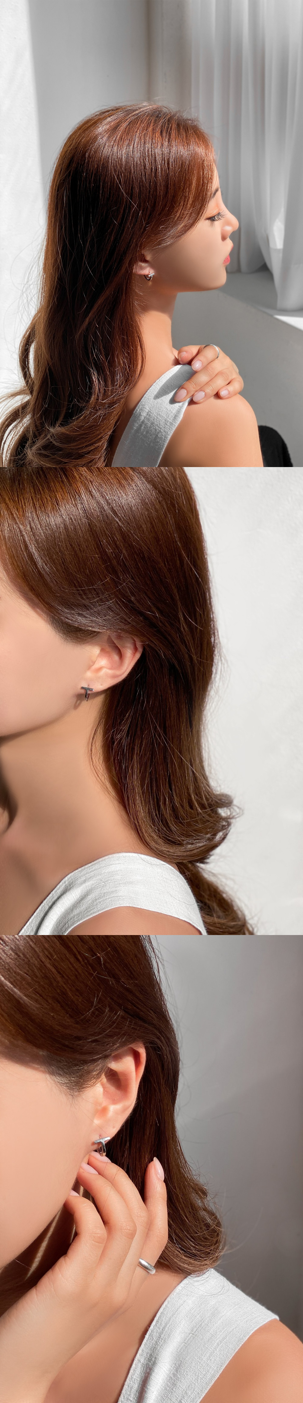 Double Ring One Touch Silver Ring Earrings