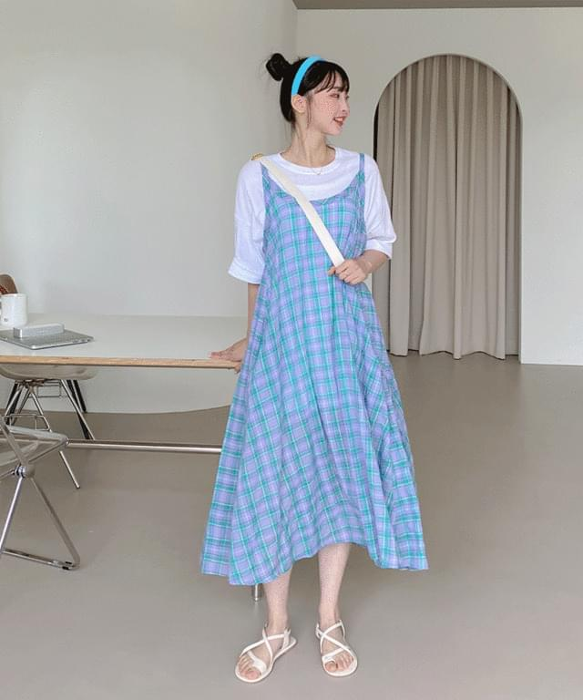 Big Size 55-120 Sea Salt Check Bustier Dress