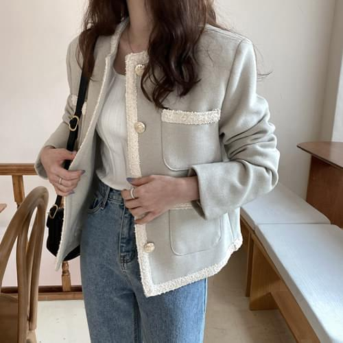Say Vintage Tweed Jacket-Greyge Same Day Shipping