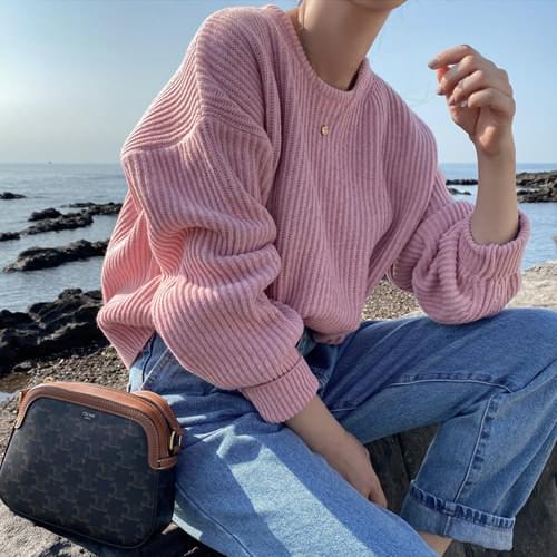 Joy Semi-Crop Rams Wool Round Knitwear-Brown, Deep Green, Gray Same Day Shipping