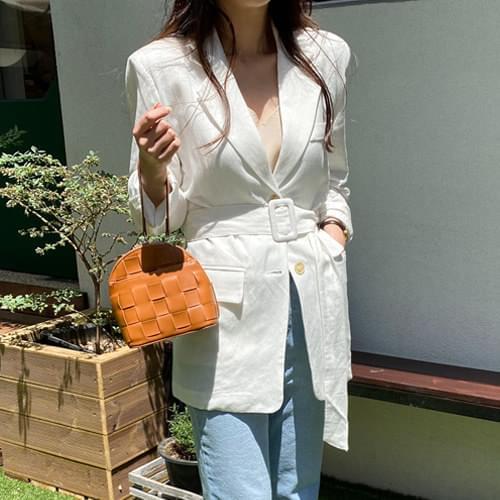Modern Linen Belt Jacket - Charcoal