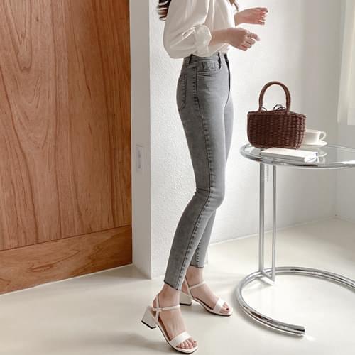 Stone Gray Skinny Denim Pants - Same Day Shipping