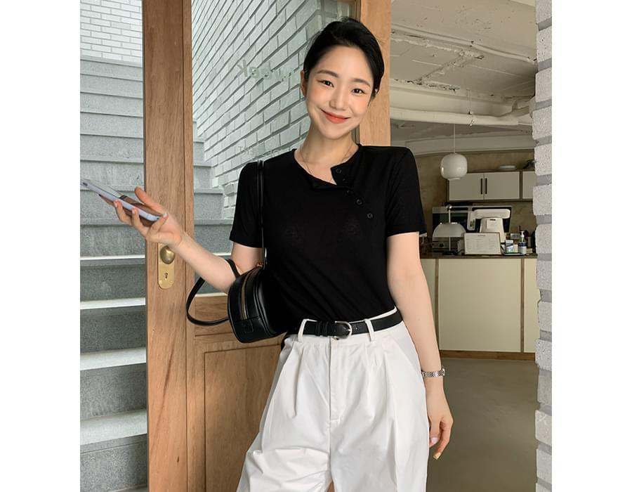 Unique Button Slim Short Sleeve T-shirt