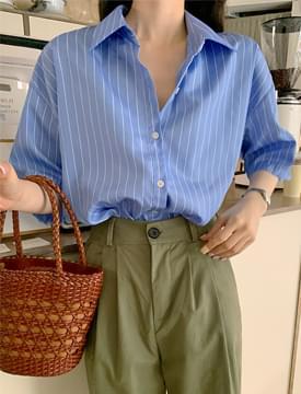 striped over short sleeve shirt