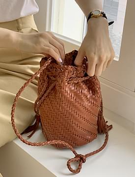 Braided Tassel Bucket Shoulder Bag