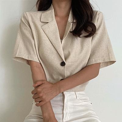 summer linen short sleeve jacket