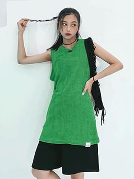 Overfit Terry Sleeveless & Mini Dress