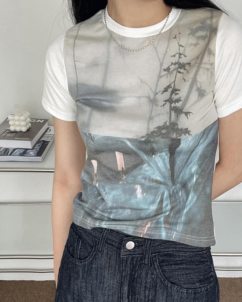 Gabi photo-print cropped short-sleeved T-shirt