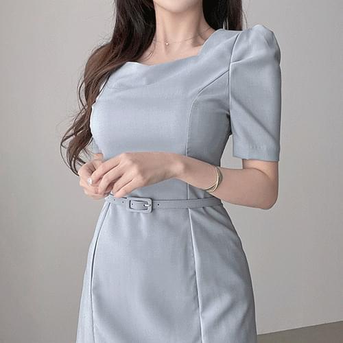 Straight Square Neck Spandex Belt Puff Mini Dress 3color