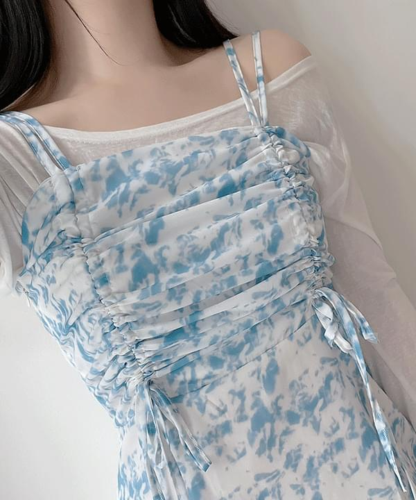 Mayby Printed Shirring String Dress+ Opti