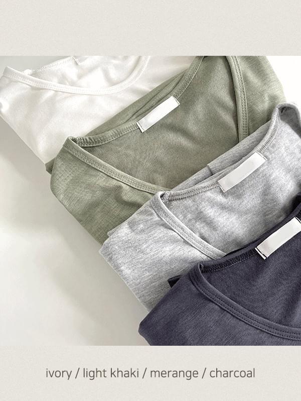 Moment V-Neck cotton short-sleeved T-shirt