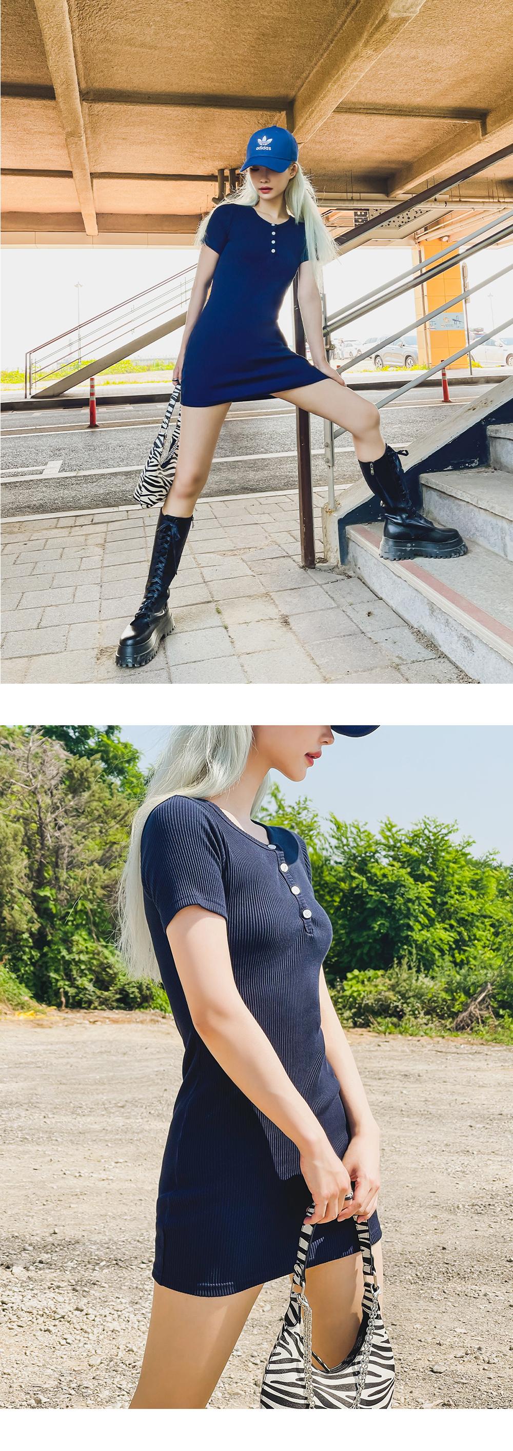 Massive Ribbed button mini Dress