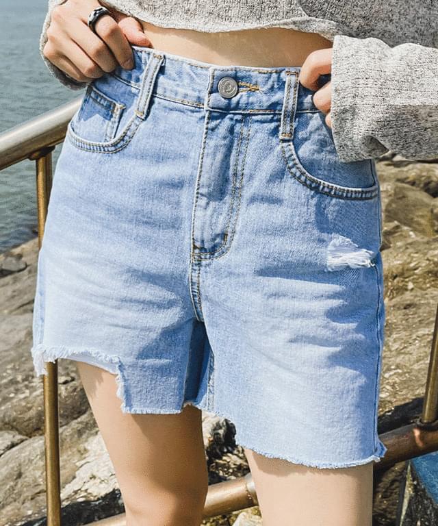 Light Blue Damage Denim Short Pants