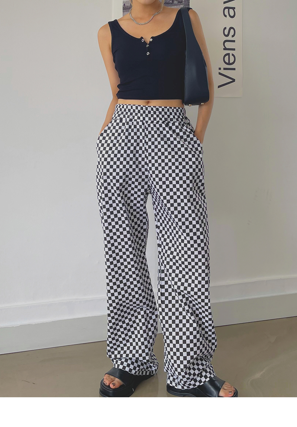 Edited Checker Wide Banding Pants