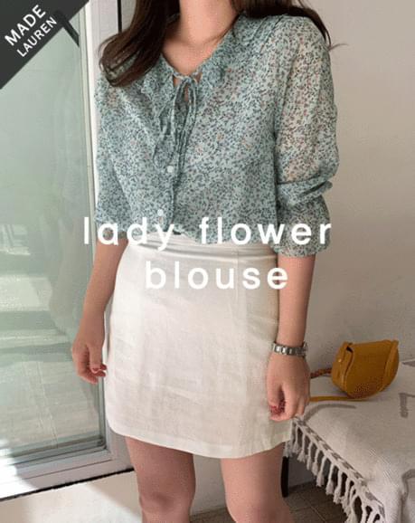 Lady Ruffle Flower-Blouse